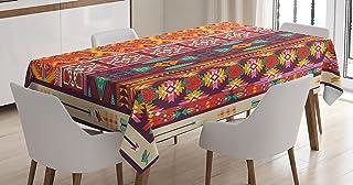 Lunarable Mantel azteca, patrón colorido con pájaros y flechas, tema del patrimonio cultural maya, cubierta de mesa rectan...
