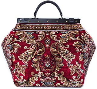 Large Carpet Bag SAC-VOYAGE Blossom Red - Magical Mary Poppins Vintage-Style Carpet Bag with leather handle.