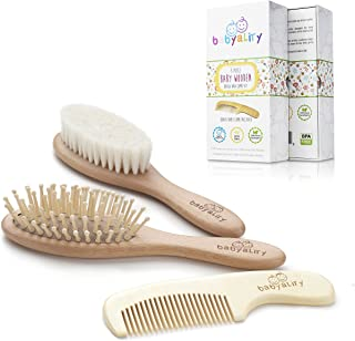 Babyality Baby Hair Brush & Comb Set: 3-Pack Wooden Infant Goat Bristles Brush + Detangling Comb + Wooden Massaging Baby Brush To Keep Your Baby ́s Hair Silky & Prevent Cradle Cap|Top Baby Shower Gift