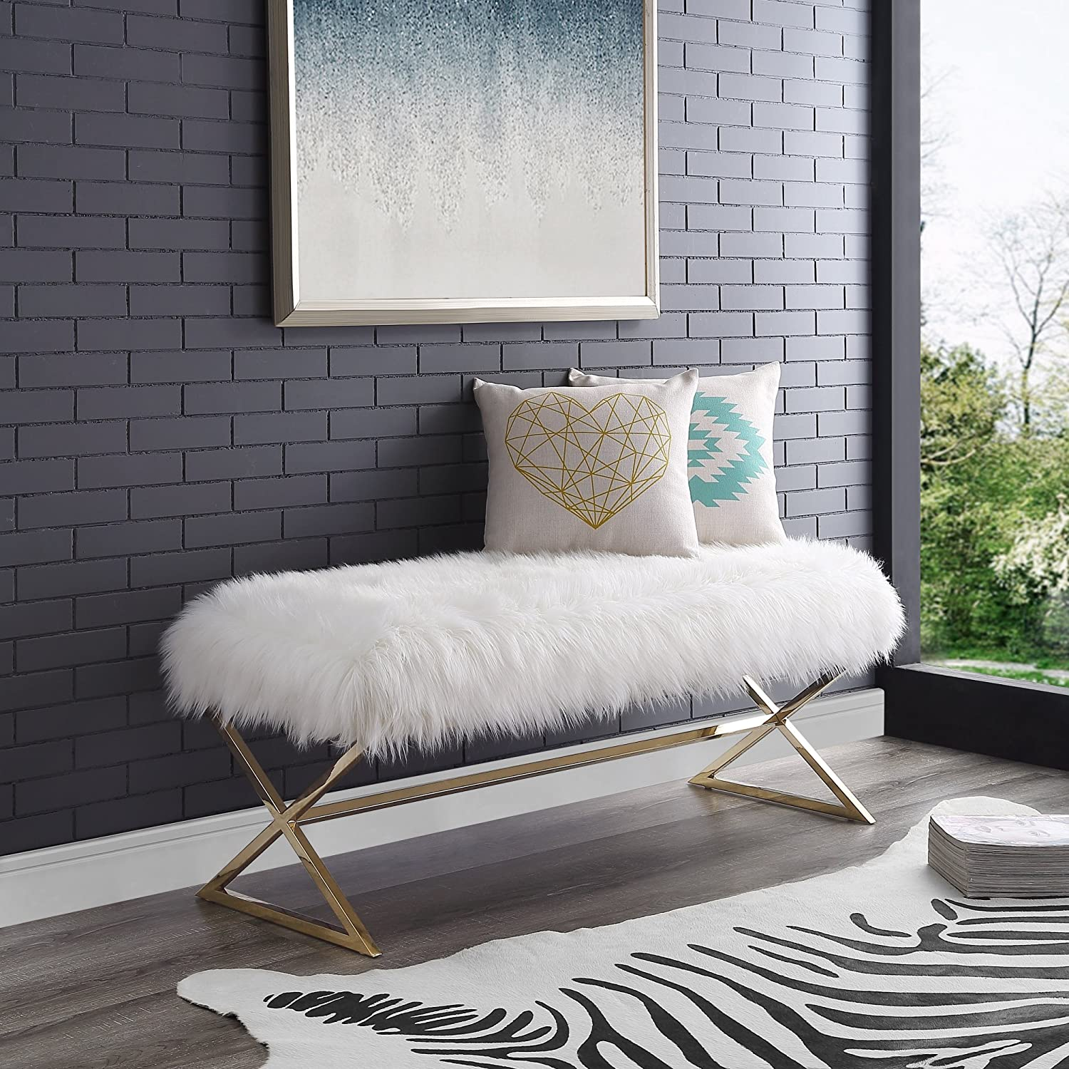 Aurora Ranking TOP20 Ranking TOP19 White Fur Upholstered Bench - Legs Steel Gold Stainless