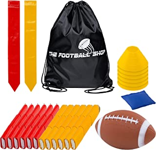 Flag Football Set for 12 Players - Includes Durable Flag Belts and Flags, Cones, Bean Bag, Carrying Backpack, and Football - Huge 55 Piece Complete Set