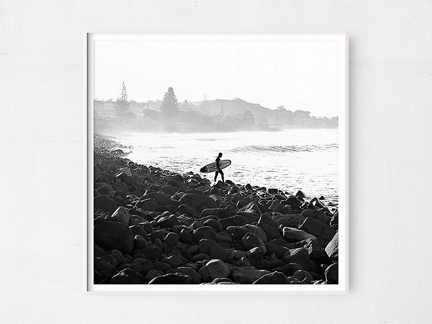 Square Surfer Print Large Black Surfing Sale Ready Poster White Special sale item and