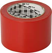 3M General Purpose Vinyl Tape 764 Red, 3 in x 36 yd 5.0 mil (Pack of 1)