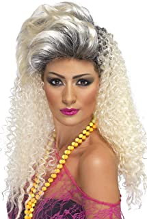 Smiffys Women's Long Curly Blonde 80's Wig with Quiff, One Size, 80's Bottle Wig, 5020570420225
