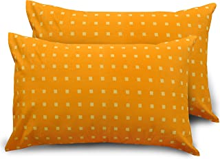 "HUESLAND by Ahmedabad Cotton Comfort 144 TC Cotton 17""x27"" 2 Pillow Covers - Orange"