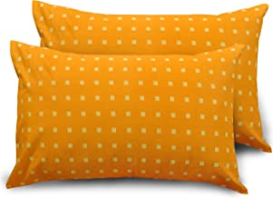 Ahmedabad Cotton 2 Piece 300 TC Cotton Standard Pillow Covers, Orange