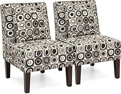 Best Choice Products Set of 2 Living Room Armless Accent Chairs w/Pillows - Geometric