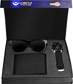 LORENZ Combo of Black Men's Wallet, Sunglasses & Watch   Choose Any one   Brown Wallet, Army Design Wallet, Blue Wallet or...