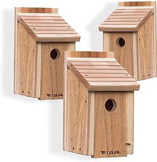 Woodlink Wooden Bluebird House   Inland Cedar Bird Houses for Outside Wild Bird Watching   Gather a Flock of Bluebirds at ...