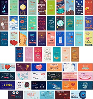 Paper Junkie 60-Pack Romantic Inspirational Lunch Box Love Notes for Husband, Wife, Adults, 60 Card Designs, 2 x 3.5 Inches