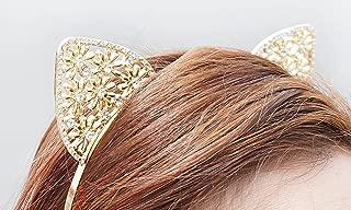 Crystal Cat Ears, Cat Ears Headband, Gold Cat Ears Headband, Gold Crystal Cat Ears, Jewel Cat Ears, Jeweled Cat Ears, Rave Cat Ears