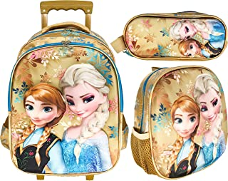 3D FROZEN SCHOOL TROLLEY BAG WITH BACKPACK FOR KIDS GIRL 15 INCH INCLUDE LUNCH BAG AND PENCIL POUCH