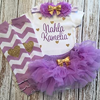 93b4e298c Take Home Outfit Baby Girl Outfit Personalized Name Hearts Purple and Gold  Optional Tutu Bloomers Headband