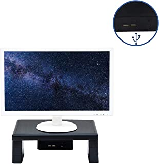 DAC Stax Adjustable, Stackable Desktop Computer Monitor Stand Laptop Riser with 2 USB Charging Ports, Supports up to 66 Pounds, Medium Size