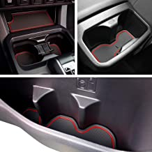 Custom Fit Cup, Door Center Console Liner Accessories for Toyota Tacoma 2019 2018 2017 2016 19PC Set (Double Cab, Red Trim)