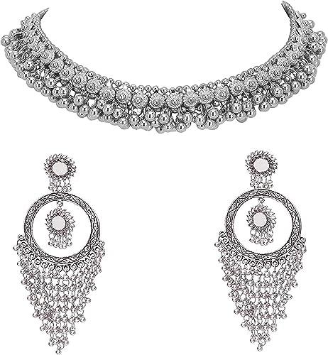 Jewellery Oxidised Silver Latest Desigen Choker Necklace with Earring Set for Women Girls