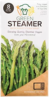 Green Steamer Microwave Steam Wrap, Stovetop Quality Steamed Vegetables From Your Microwave, Made From Food Safe, Biodegradable, Recyclable Paper From Sustainable Forests, 8 Sheets Per Box (Set of 1)