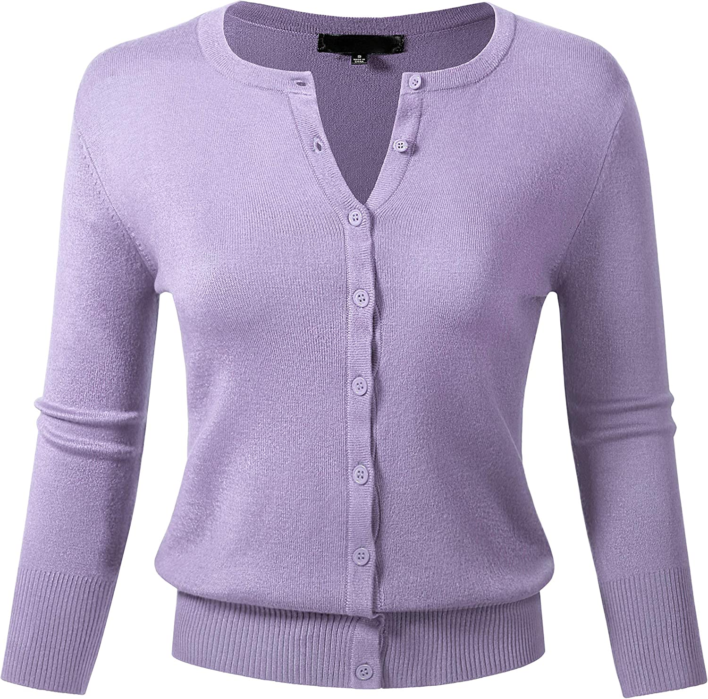 Allsense Women's Button Down 3/4 Sleeve Crew Neck Knit Cardigan Sweater (S-3X)