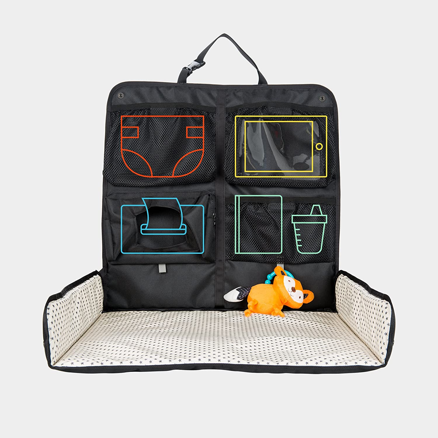 Beanko Baby | Diaper Changing Station for Your Car | Portable, Waterproof, Detachable, Toy Loops, 4 Pockets, Wet Wipes Holder, Tummy Time Mat, Kick Mat, Tablet Holder | LUMI - Black with Ministars