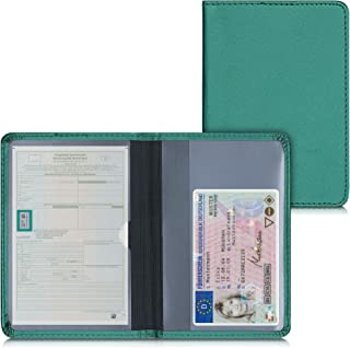 kwmobile Funda para permiso de circulación coche de cuero sintético - Con espacio para tarjetas 9.2 x 13 CM doblado - verd...