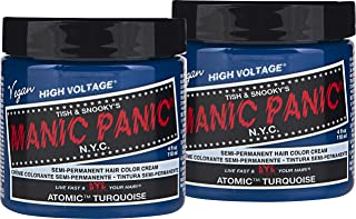 Manic Panic Atomic Turquoise Hair Color Cream (2-Pack) Classic High Voltage, Semi-Permanent Hair Dye - Vivid, Blue Shade, For Dark, Light Hair, Vegan, PPD & Ammonia-Free,Ready-to-Use, No-Mix Coloring