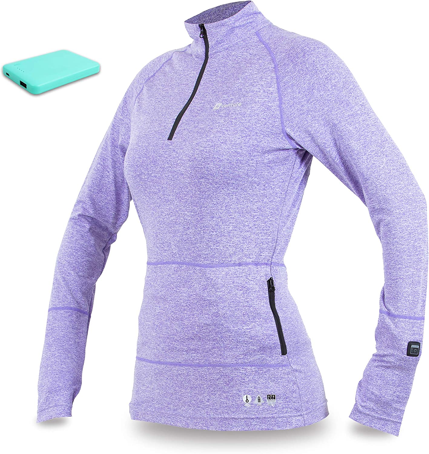 Venture Heat Women's Heated Base Layer with Battery 6 Hour  The Nomad 1 4 Zip Shirt, Carbon Fiber