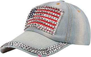 Raylans Adjustable Women Men Bling Rhinestone Denim Baseball Cap Hat