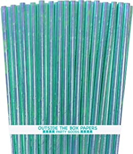 Iridescent Paper Straws- Blue Green - 7.75 Inches - 100 Pack