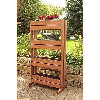Soporte vertical de madera para plantas con 4 maceteros de ...