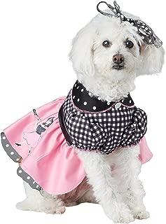 Pink/White/BLK_50'S Poodle Pooch Dog Costume
