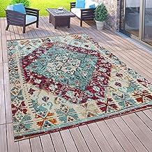 Vloerkleed voor buiten voor balkon, laagpolig in oosterse look, verschillende kleuren en formaten, Maat:80x150 cm, Farbe:P...