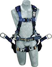 3M DBI-SALA ExoFit XP 1110301 Tower Climbing Harness, Front/Back/Side D-Rings, Belt w/Back Pad, Seat Sling w/Position Rings, QC Buckles, Medium, Blue/Gray