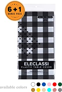 Black Gingham Checkered 7 Pack Disposable Plastic Table Cover 54 x 108 Inch - Waterproof Disposable Tablecloths for Rectangle Tables Up To 8 Feet in Length - Indoor or Outdoor Use - Party Table Cloths