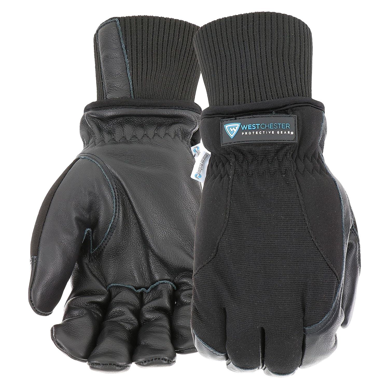 West Chester Aqua Armor Premium Black Cowhide Winter Gloves, Thinsulate Lining, Abrasion Resistant, Water Resistant, Black, Men's, X-Large (90580-XL)