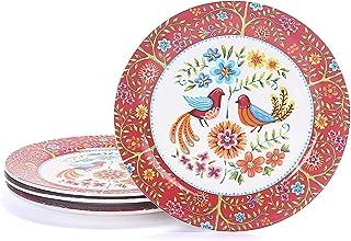 Bico Red Spring Bird Ceramic Dinner Plates Set of 4, 11 inch, for Pasta, Salad, Maincourse, Microwave & Dishwasher Safe