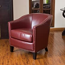 Christopher Knight Home Austin Oxblood Leather Club Chair, Red