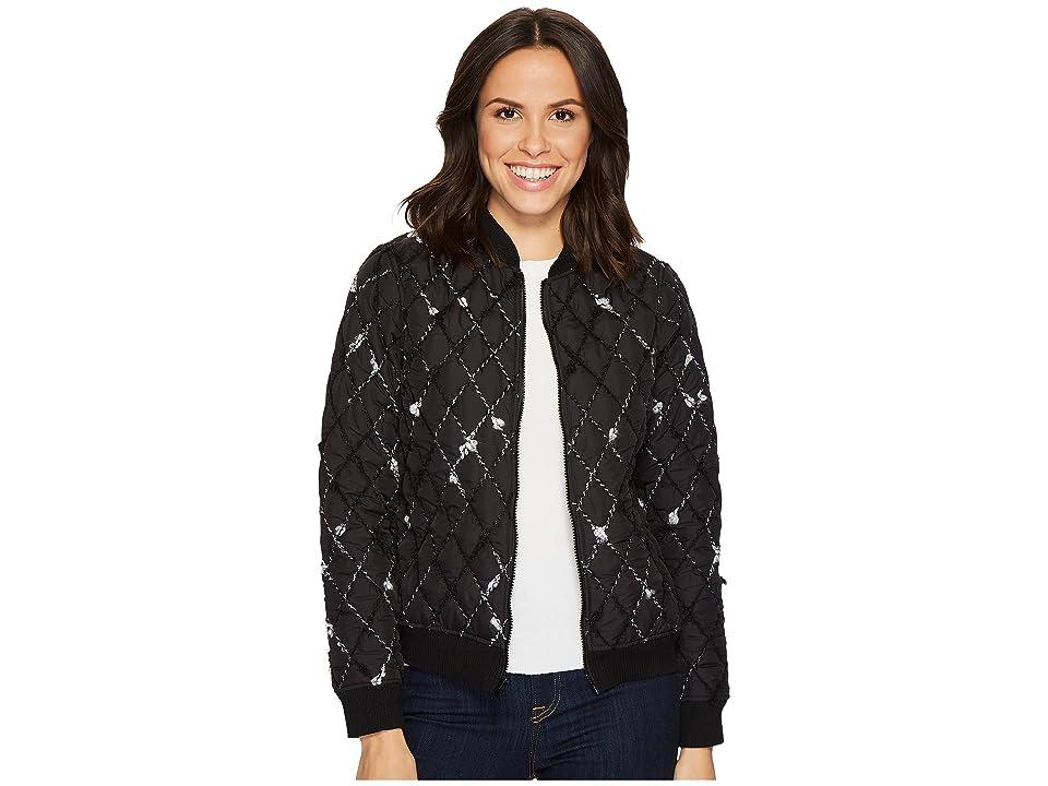 Lanston Bomber Jacket (Black/White) Women's Coat