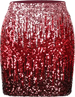 MANER Women's Sequin Skirt Sparkle Stretchy Bodycon Mini Skirts Night Out Party
