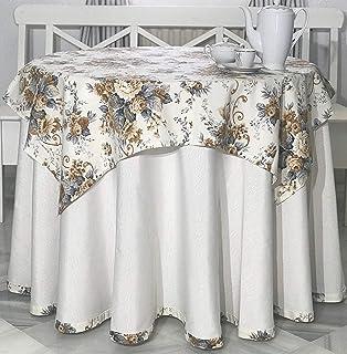INUSUAL Falda o Ropa de Camilla Redonda Verano 90x75 y a Medida, Modelo Victoria (Marfil Floral)