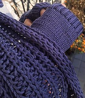 Set de bufanda y mitones, 100% algodón, azul, unisexo
