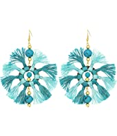 Two-Tone Turquoise/Light Turquoise Multi Tassel Fishhook Earrings
