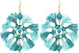 Kenneth Jay Lane Two-Tone Turquoise/Light Turquoise Multi Tassel Fishhook Earrings