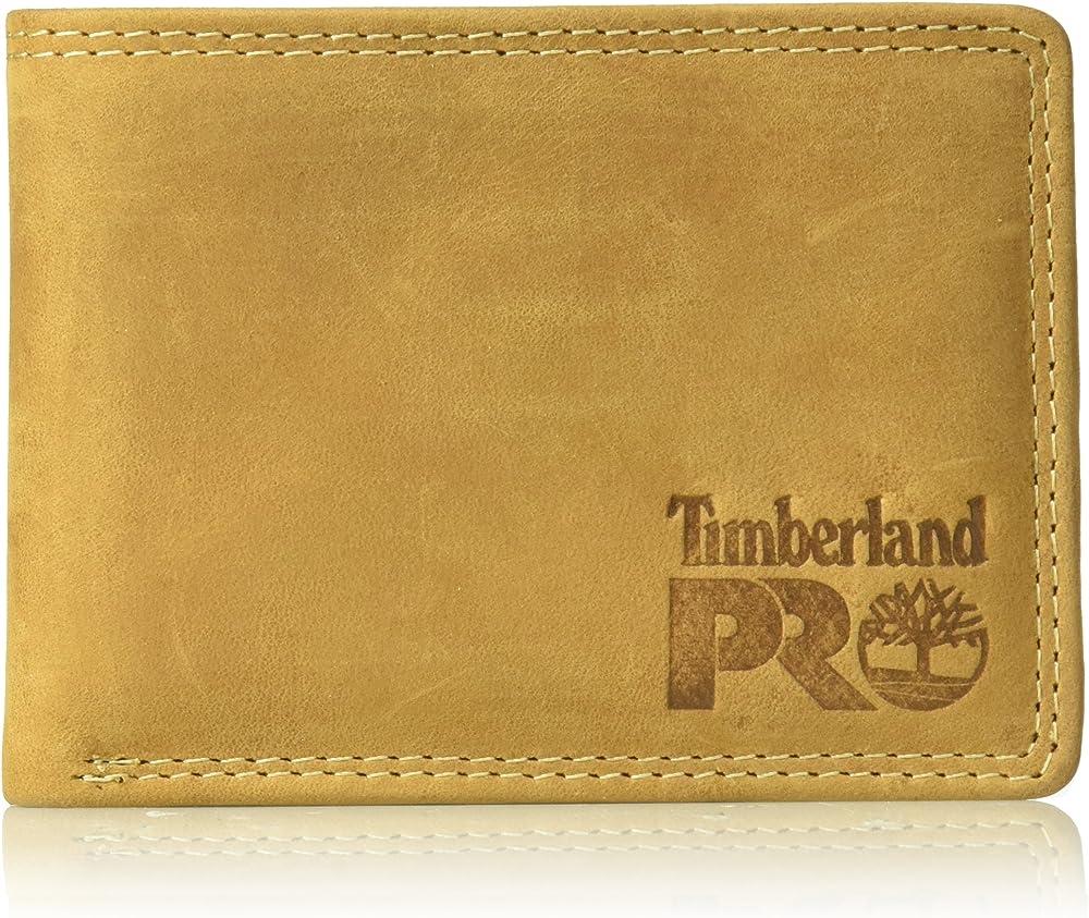Timberland, portafoglio per uomo, in pelle,  con tasca rimovibile per carte di credito, giallo DP0020