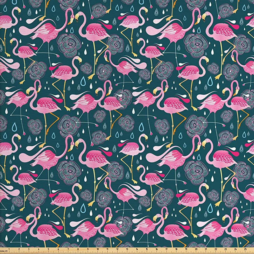 Ambesonne Flamingos Fabric by The Yard, Exotic Bird Pattern with Flowers Hearts and Raindrops Tropical, Decorative Fabric for Upholstery and Home Accents, 2 Yards, Pink Dark Green Pale Pink