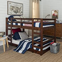 Walker Edison Wood Twin Kids Bunk Bed Bedroom with Guard Rail and Ladder Easy Assembly, Single, White (AZWJRTOTWT)