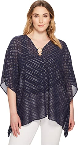 MICHAEL Michael Kors - Plus Size Rope Dot Foil Ring Top