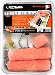 8 Piece Professional 9 inch Paint Kits,Paint Rollers,Paint Roller Covers, Paint Brush,Paint Brushes, Paint Tray, Angle sash 2 inch,2.5 inch,3 inch,Home Repair Tools