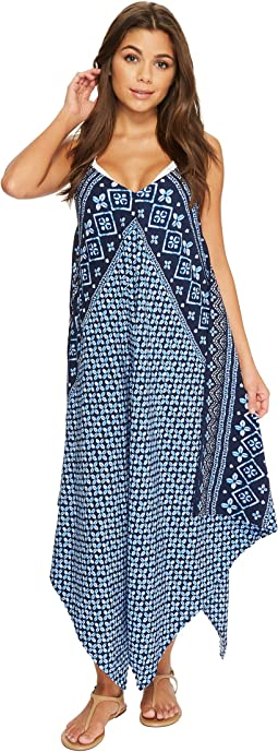 Indigo Cowrie Scarf Dress Cover-Up