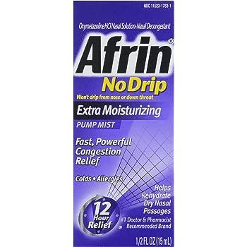 Afrin Nasal Spray No Drip Extra Moisturizing Pump Mist, .5 oz