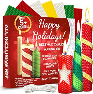 Christmas Candle Making Kit Beeswax - All-Inclusive DIY Coloured Candle Making Kit for Adults and Kids - Candle Making Sup...